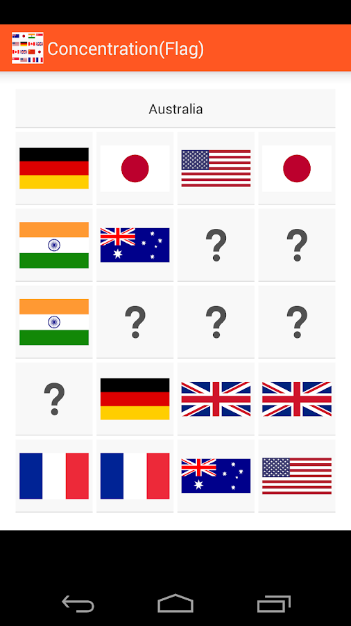 Concentration (Flags)- screenshot
