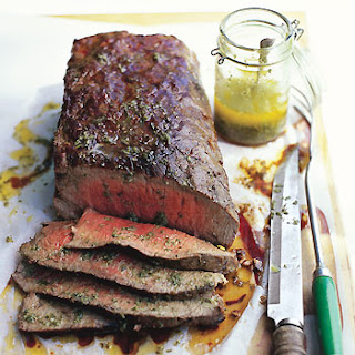 Wood-Smoked Tri-Tip with Sicilian Herb Sauce.