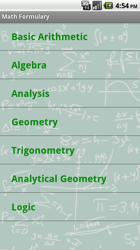 Math Formulary - screenshot