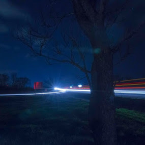 Night highway by Anthony Allred - City,  Street & Park  Night (  )