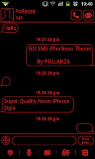 GO SMS Theme Messages Red - screenshot thumbnail