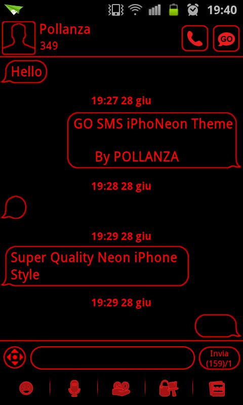 GO SMS Theme Messages Red- screenshot