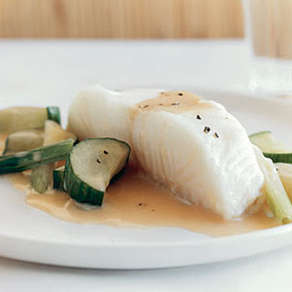 Sea Bass and Cucumbers in Champagne Sauce