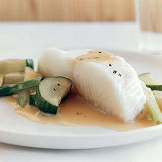 Sea Bass and Cucumbers in Champagne Sauce.