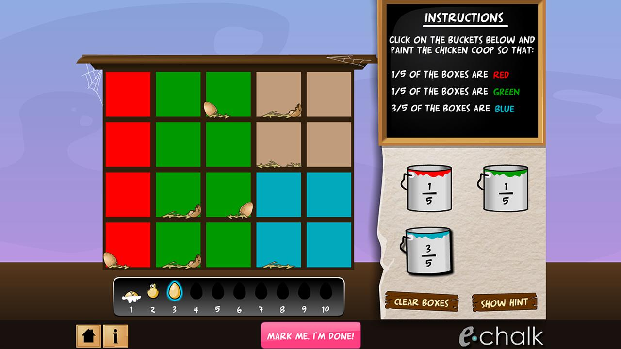 Chicken coop fractions games- screenshot
