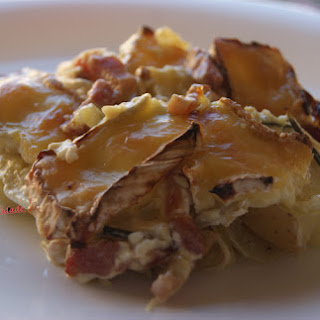 Gratin Small Potatoes with Bacon and Camembert.