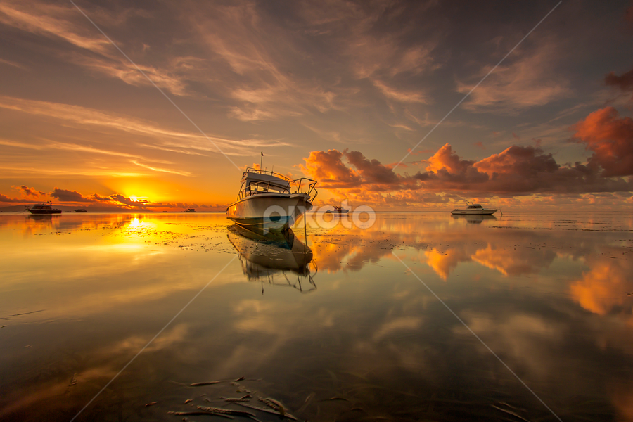 Tranquil at Sunrise by Choky Ochtavian Watulingas - Landscapes Sunsets & Sunrises ( clouds, sky, boats, golden_hour, reflections, seascape, sunrise,  )