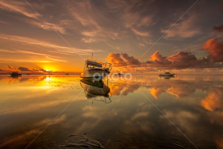 Tranquil at Sunrise by Choky Ochtavian Watulingas - Landscapes Sunsets & Sunrises ( clouds, sky, boats, golden_hour, reflections, seascape, sunrise,  )