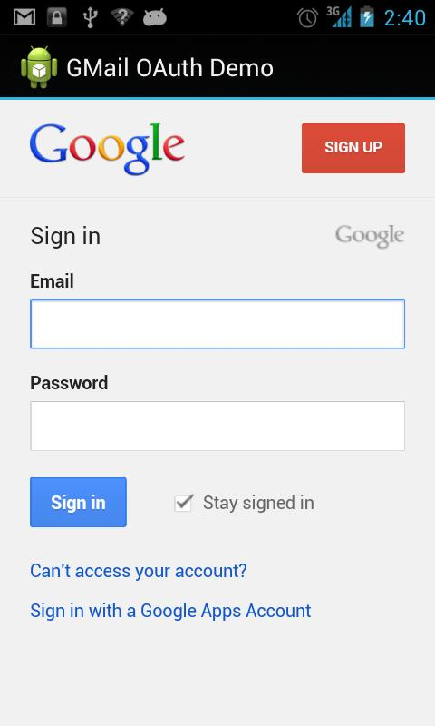 GMail OAuth Demo - screenshot