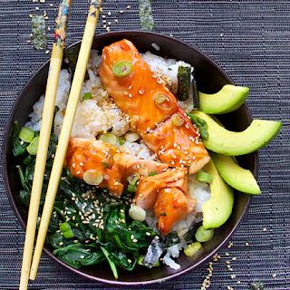 Teriyaki Salmon Rice Bowl with Spinach & Avocado.