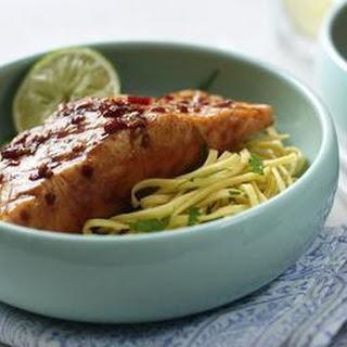 Teryaki Seared Tuna With Crispy Noodles.