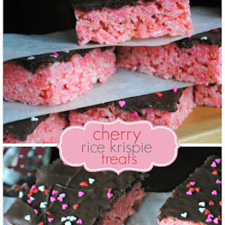 Cherry Krispie Treats with Dark Chocolate
