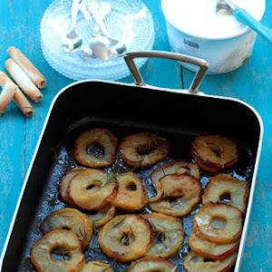 Honey, Rosemary, Baked Apples with Vanilla Ice Cream
