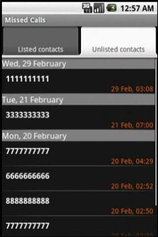 Missed Calls- screenshot