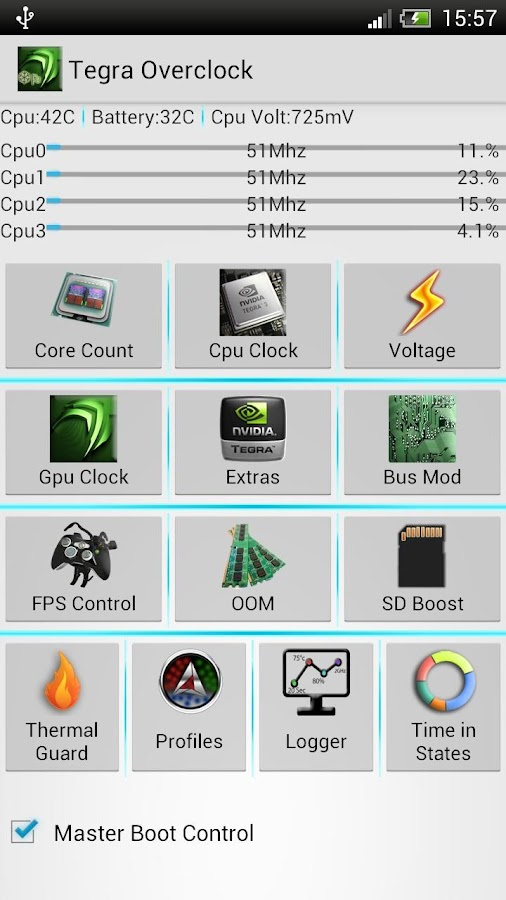 Tegra Overclock- screenshot