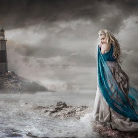 The Keepers Wife by KT Allen - Digital Art People ( stormy, clouds, sky, woman, lighthouse, sea, ocean, storm, rocks )