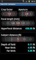 Screenshot of Vink DOF Calculator