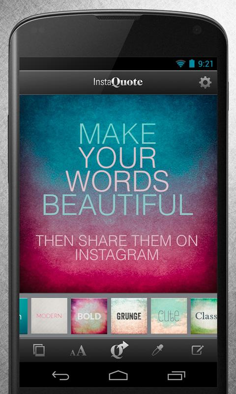InstaQuote: add text to photos- screenshot