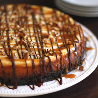 Turtle Cheesecake with Caramel, Chocolate and Pecans.
