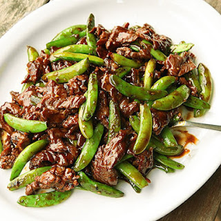 Stir-Fried Beef with Snap Peas and Oyster Sauce.