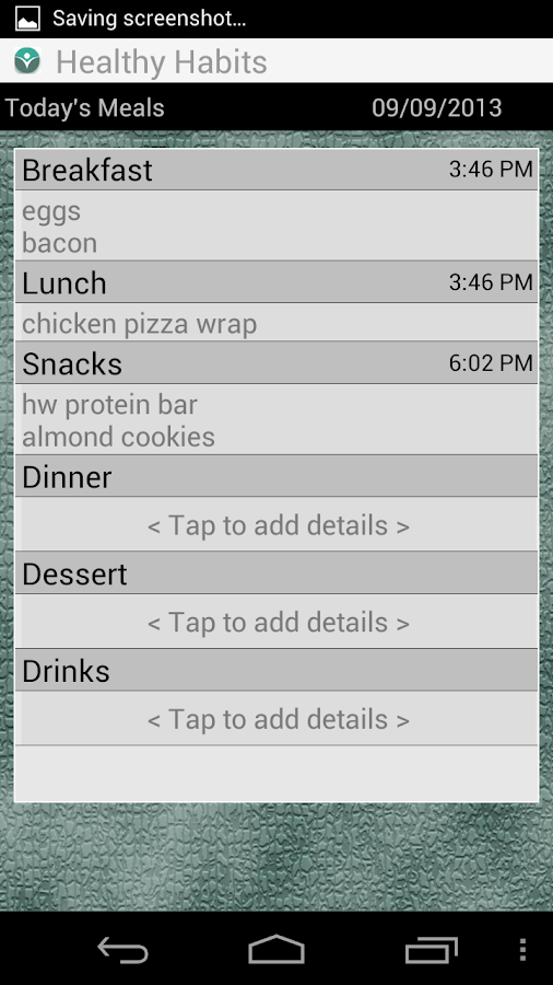 Healthy Meal Habits - screenshot