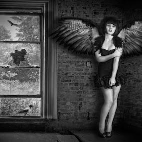 Fallen Angel by Joan Blease - Digital Art People ( angel, model, window, wings, mood, scared )