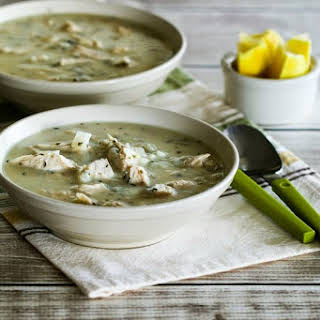 Egg-Lemon Chicken Soup (Avgolemono Soup) with Rice or Cauliflower Rice.