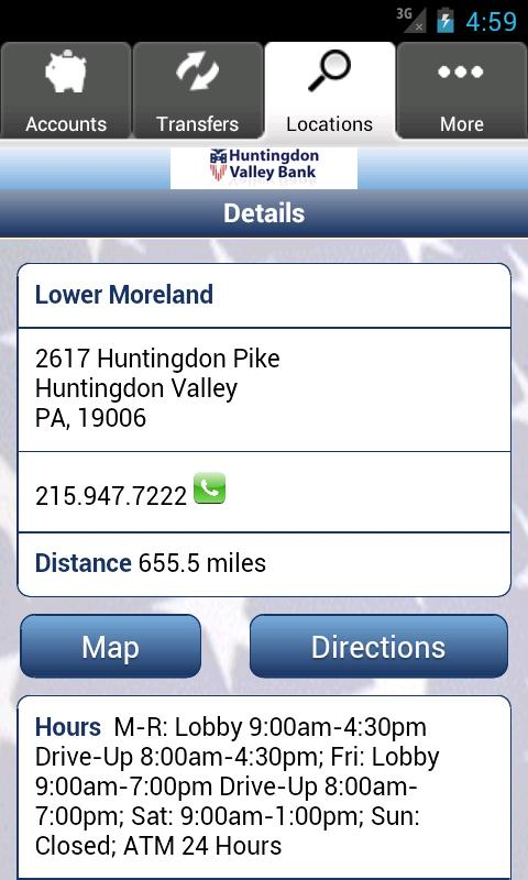 Huntingdon Valley Bank - screenshot
