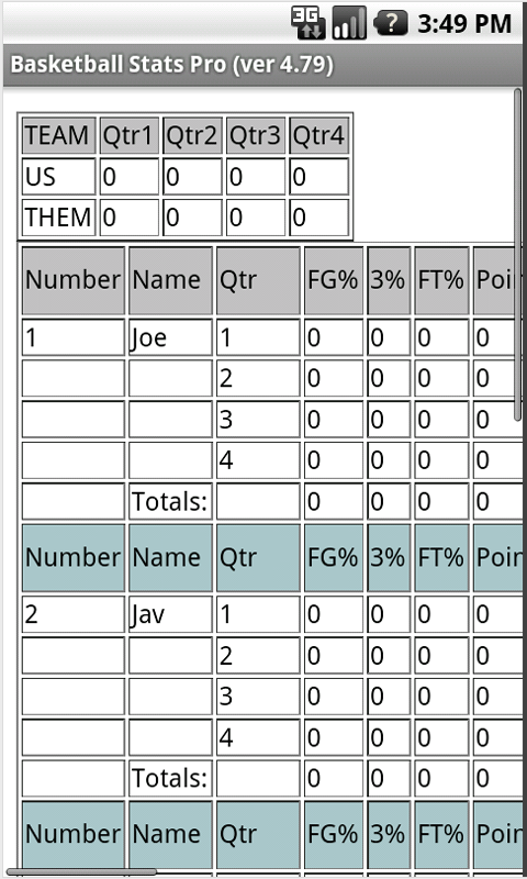 Basketball Stats Pro - screenshot