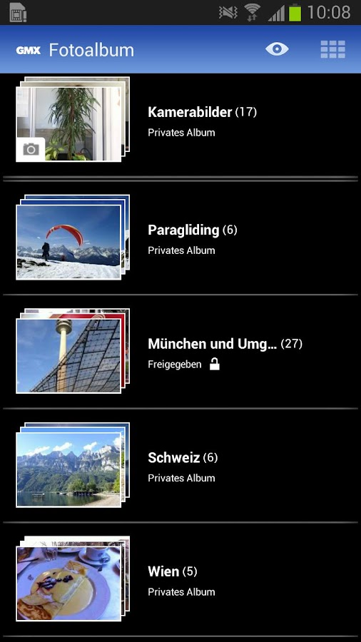 GMX Fotoalbum- screenshot