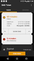 Screenshot of SMS Ticket