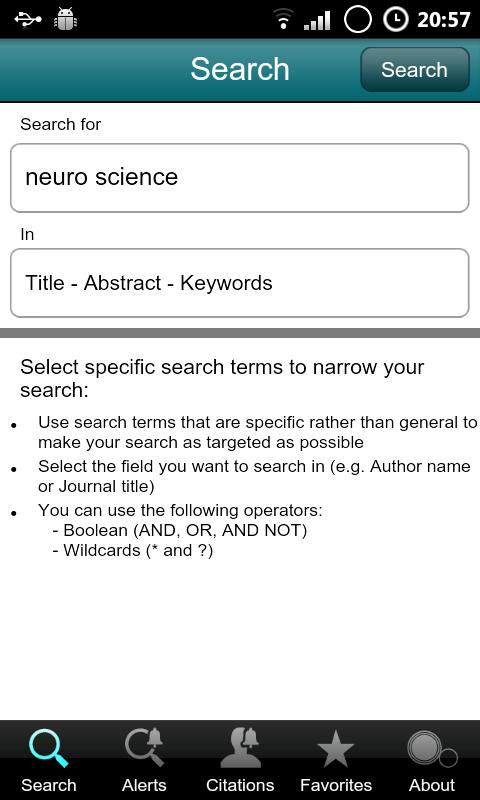 SciVerse Scopus Alerts - screenshot