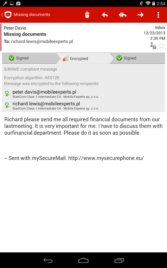 my Secure Mail - email app- screenshot