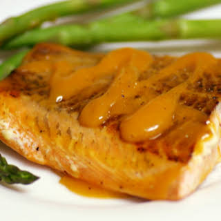 Grilled Salmon with Peach-Bourbon Barbecue Sauce.