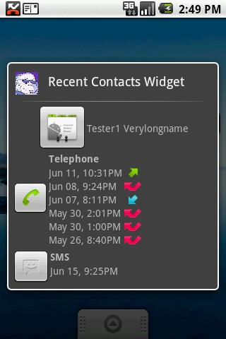 Recent Contacts Widget- screenshot