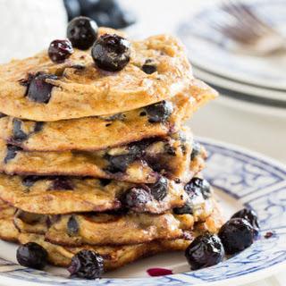 Blueberry Almond Protein Pancakes.