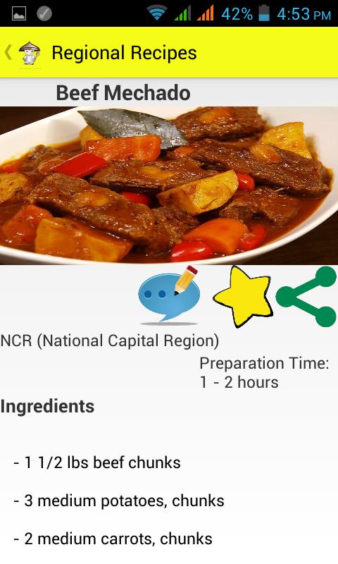 Filipibo Food Recipe Card