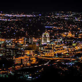 My City From Above by Nathaniel Jorge - City,  Street & Park  Night ( lights, long exposure, night, cityscape, roanoke,  )
