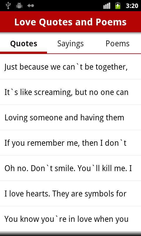 Love Quotes and Love Poems - screenshot