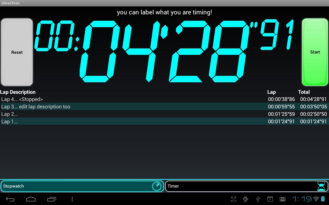 UltraChron Stopwatch & Timer - screenshot