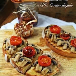 Mushroom, Tomato, and Caramelized Garlic Bruschetta