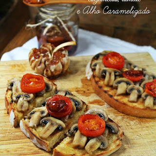 Mushroom, Tomato, and Caramelized Garlic Bruschetta.