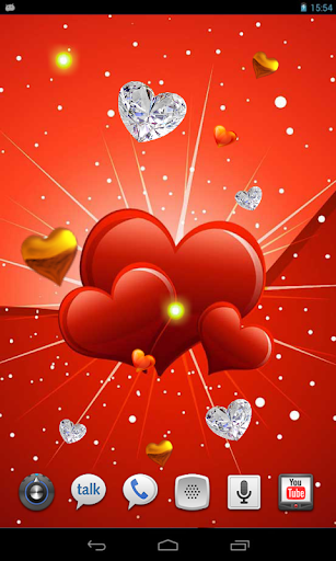 Valentines Gold Hearts HD LWP
