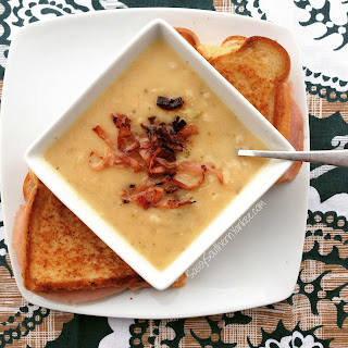 Crazy Good Crockpot Cheesy Potato Broccoli Soup With Pancetta.
