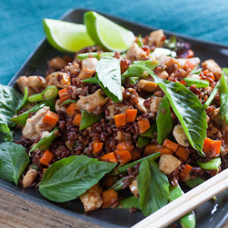 Chicken Fried Red Rice with Romano Beans