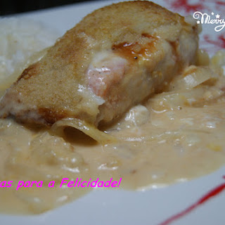 Baked Hake Loins with Salmon and Cheese