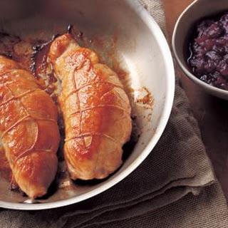 Maple-Mustard Turkey Tenderloins with Cranberry-Port Sauce.