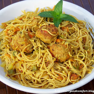 Indian Masala Spaghetti and Meatballs.