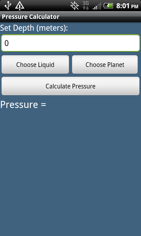 Pressure Calculator - screenshot