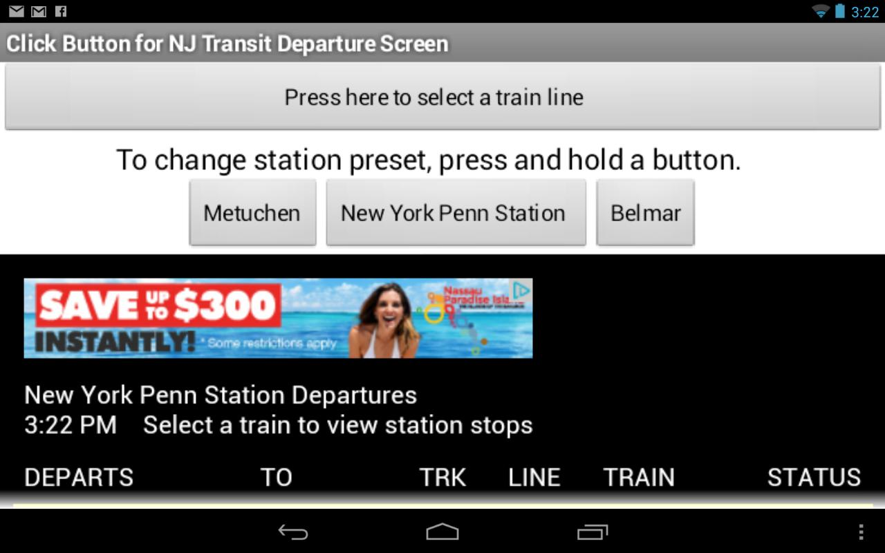 NJ Transit Departures - screenshot